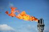Gas flare on an oil well