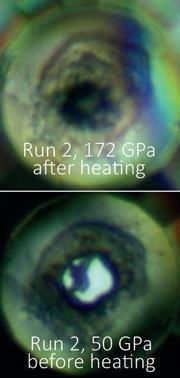 Photomicrographs of a sample at 50GPa and after heating to about 1300K at 172(±5)GPa