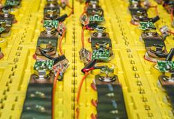 Close up image of lithium batteries in an electric car