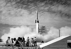 Test launch of Bumper 8: a two-stage rocket that topped a V-2 missile base with a WAC Corporal rocket