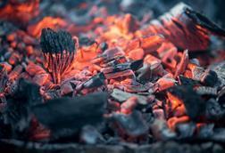Smoldering charcoal