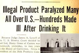 News stories about 'Ginger Jake', the spirit that caused paralysis known as 'Jake walk' during prohibition