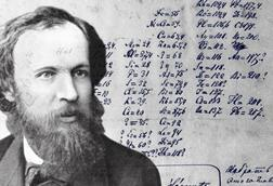 A picture of Mendeleev with his 1869 periodic table