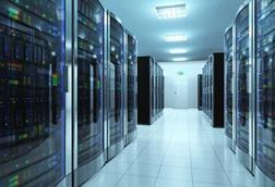 A bank of servers in a room