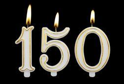 A picture showing candles to celebrate 150 years