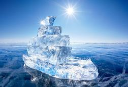 A photograph of a ship made out of ice