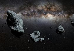 An image of large asteroids drifting through space