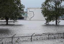 The Arkema Inc. chemical plant in Crosby, Texas surrounded by floodwaters from tropical storm Harvey