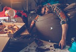 Guy passed out on bean bag after drinking & partying - Hero