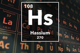 Periodic table of the elements – 108 – Hassium