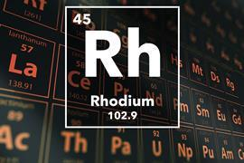 Periodic table of the elements – 45 – Rhodium