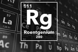 Periodic table of the elements – 111 – Roentgenium