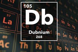 Periodic table of the elements – 105 – Dubnium