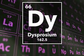 Periodic table of the elements – 66 – Dysprosium