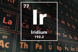 Periodic table of the elements – 77 – Iridium