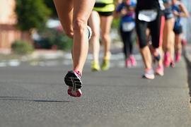 Marathon running race on city road