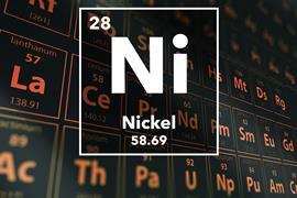 Periodic table of the elements – 28 – Nickel