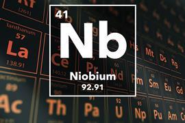 Periodic table of the elements – 41 – Niobium