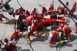Scuderia Ferrari Marlboro crews do pit-stop practice at the 2009 F1 Petronas Malaysian Grand Prix April 4, 2009 in Sepang Malaysia.