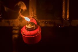 A traditional kerosene lamp