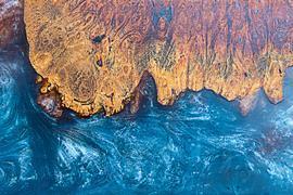 Coloured epoxy resin on wood