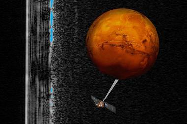 Artistic impression of the Mars Express spacecraft probing the southern hemisphere of Mars