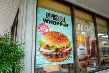 Sign on facade advertising Impossible Whopper