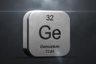 Germanium element from the periodic table. Metallic icon 3D rendered with nice lens flare 3D render 3d renderchemicalchemistryeducationelementgermaniumlaboratorylens flarelight raysmetalmetallic iconobjectperiodic tablephysicsrealisticrounded squarescienc