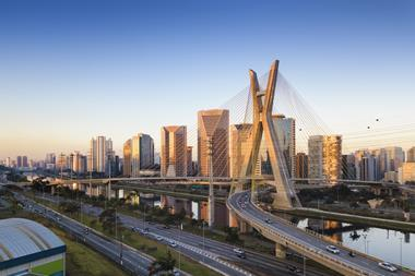 A picture showing an aerial view of the cable stayed bridge of Sao Paulo city