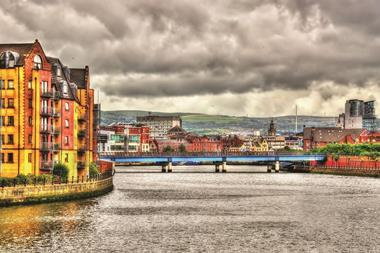 View of Belfast over the river Lagan
