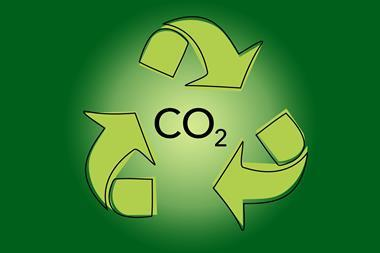 An image showing the recycling icon, with CO2 written in the middle