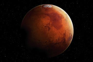 Image showing Mars in the middle of Space