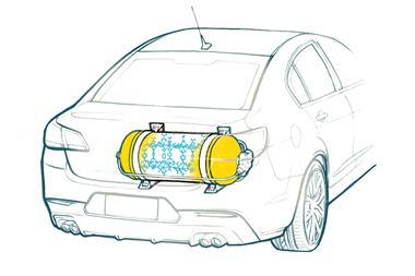 An illustration showing the back of a car with a hydrogen storage tank which shows a cutout that reveales a MOF structure