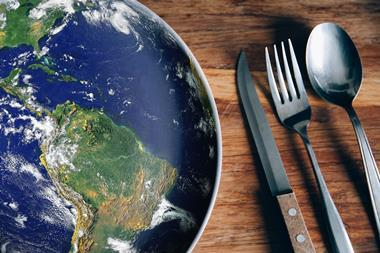 An image showing a plate that has a print resembling planet Earth