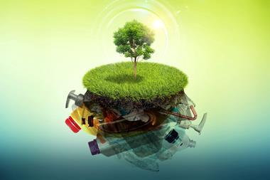 A conceptual image of biodegradable plastic