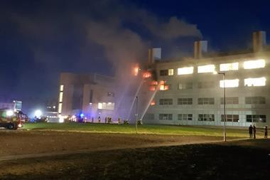 A picture showing the fire at St Andrews University