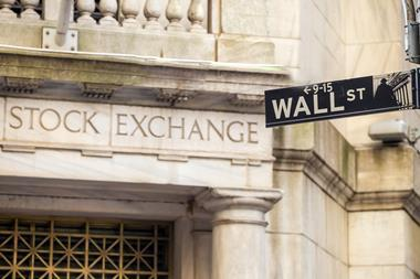 A picture of the Wall Street sign in New York City