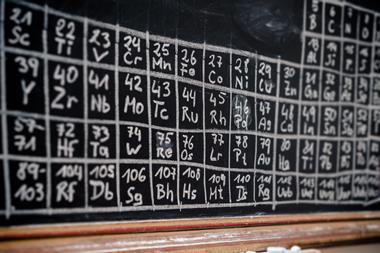 An image showing a periodic table drawn with chalk on a board