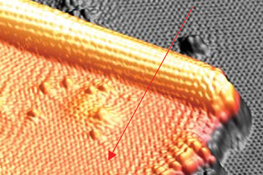 An image showing a 3D STM topography of a typical folded GNS