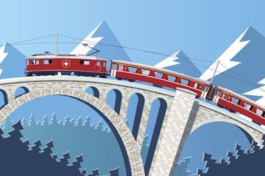 Swiss train on the bridge through the Alps