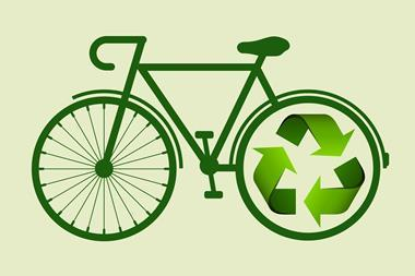 An image showing a bicycle whose back tire has been replaced by a recycling symbol
