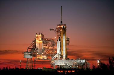 A photograph of the Atlantis shuttle prepared for launch