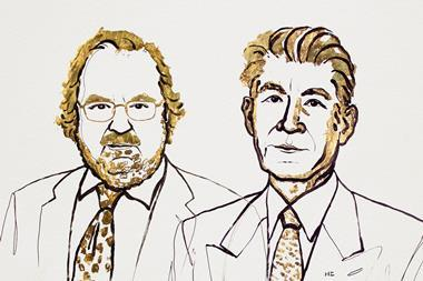 An illustration of James P. Allison and Tasuku Honjo, 2018 Nobel Laureates in Physiology or Medicine