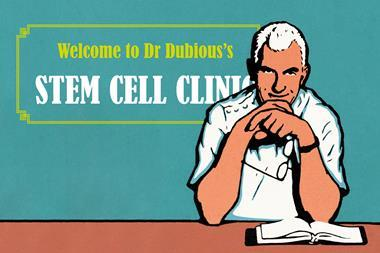 An advert-style images showing an illustration of a dubious looking doctor next to the following text: Welcome to Dr Dubious's Stem Cell Clinic