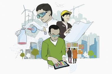 An image showing a chemist, a civil engineer and a data scientist contributing to a better society