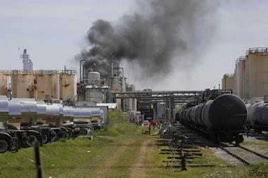 An image showing heavy smoke at a KMCO plant in Crosby