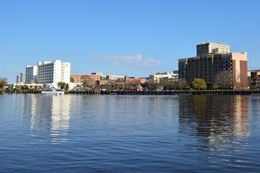 View of Wilmington North Carolina from across the Cape Fear river.