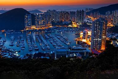 Hong Kong sunset typhoon shelters