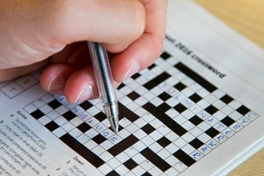 Matt Gunther filling out the Chemistry World crossword