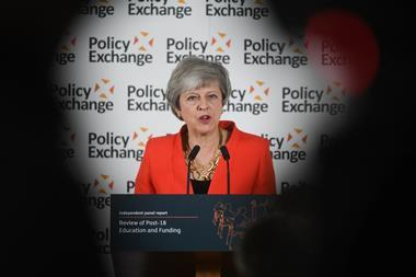 An image showing Theresa May responding to the Post-18 Education and Funding review